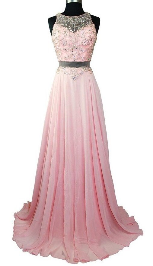 Elegant Pink Long chiffon Prom Dress
