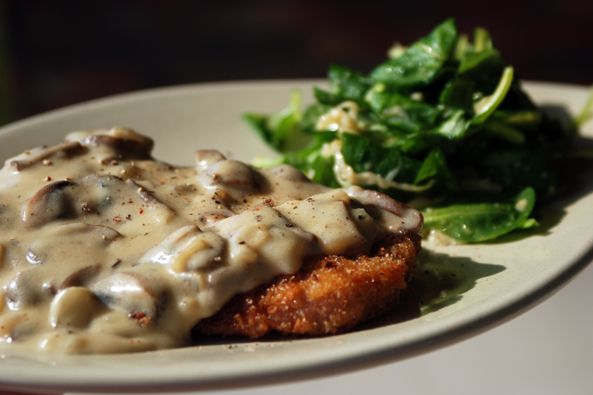 Schnitzel with German Mustard-Mushroom Gravy. This really is so good.  My honey loves German food.