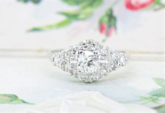 Antique Engagement Ring  1930s Art Deco by FergusonsFineJewelry