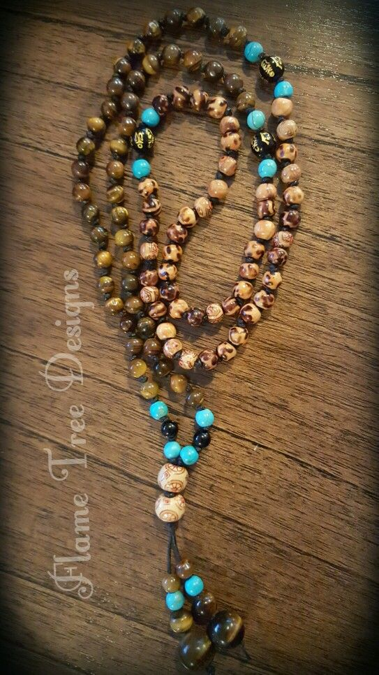 Tigers Eye and Turquoise Handknotted 108 bead Mala  See my FB page for purchase info :)