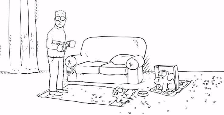 Los gatos están a la izquierda del hombre.