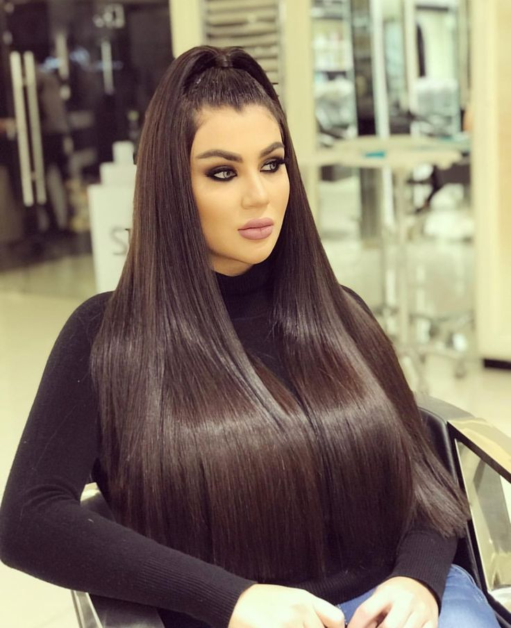 Silky smooth and extremely healthy hair. Chocolate Brunette color.