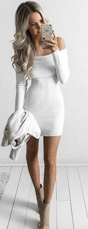 Off The Shoulder Little Knit Dress                                                                             Source