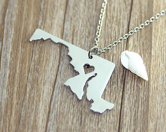 I heart Maryland Necklace  Maryland Map Pendant  by myhandword, $10.50