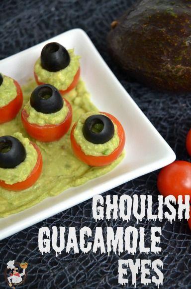 Halloween Food: Ghoulish Guacamole Eyes Recipe on PocketChangeGourmet.com