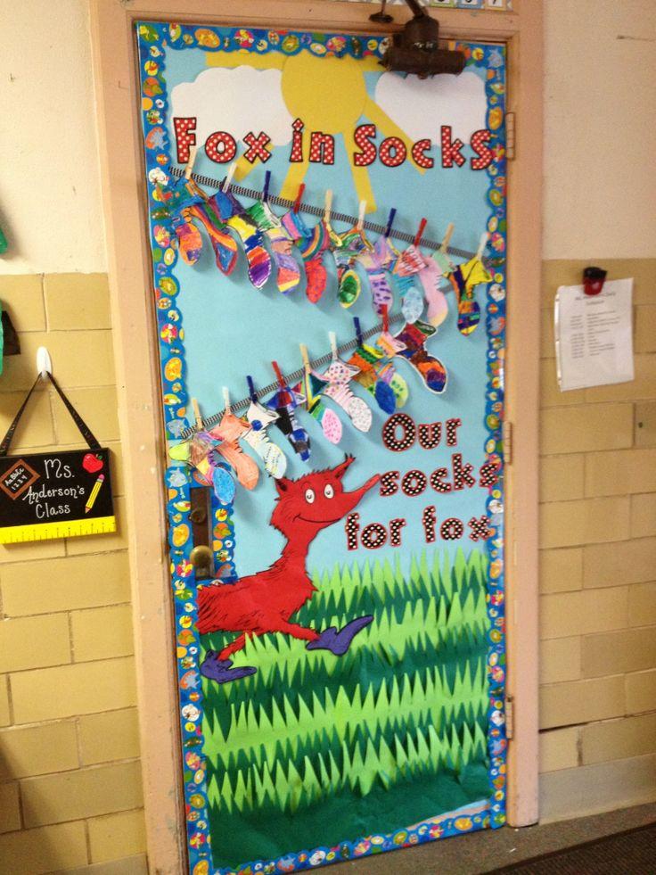 Classroom Bulletin Board Design High School ~ Fox in sock door general classroom ideas pinterest