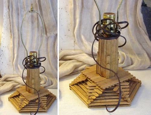Vintage POPSICLE STICKS Lamp- Tramp Art