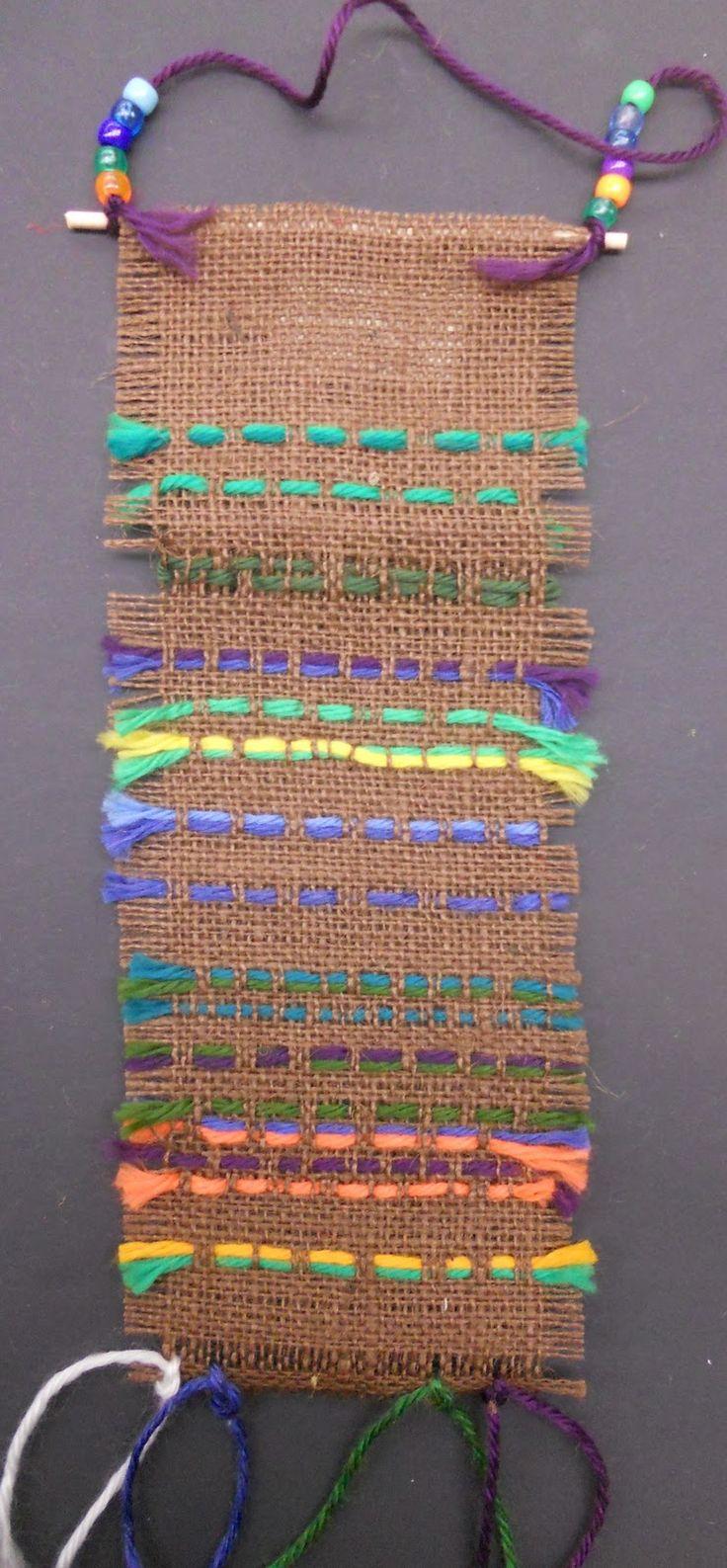 3rd grade burlap weaving | Panther's Palette: 3rd Grade: Burlap Weavings