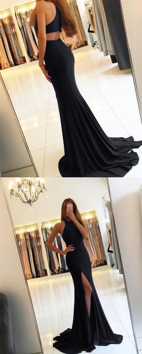 long jersey black mermaid prom dresses 2018 sexy leg slit evening gowns
