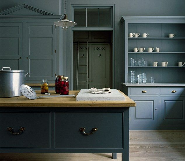 Prices start from £40,000 for the Spitalfields kitchen by Plain English. The walls and units are painted in Lead, the island unit is painted in Dark Lead, both by Little Greene, tel: 0845 880 5855, littlegreene.com