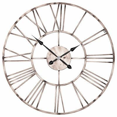 Large 92cm Vintage Copper Effect Metal Roman Numeral Wall Clock Limited Qty