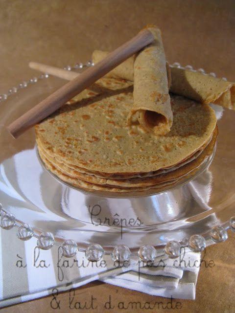 Crêpes légères à la farine de pois chiche & lait d'amandes.