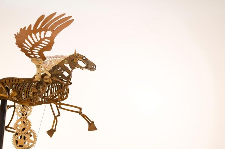 Robert Hains - Pegasus.  Created from a bookcase, school desk, chair and lectern.  http://bne.cc/1Z5f9Nn
