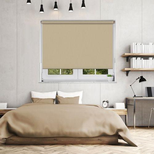 A light plain cream blackout roller blind fabric with a woven texture