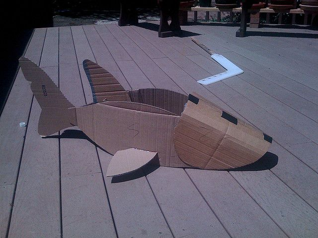 Construction of shark costume.