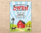 Red Barn Farm Party Customizable Party Invitation. $16.00, via Etsy.