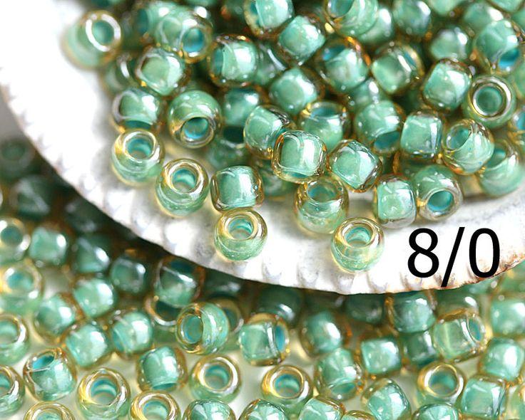 8/0 Toho Seed Beads N 380 Inside Color Topaz Mint Julep Lined 10g…