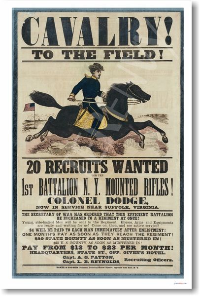 cavalry u s civil war recruitment poster manufacturer posterenvy com