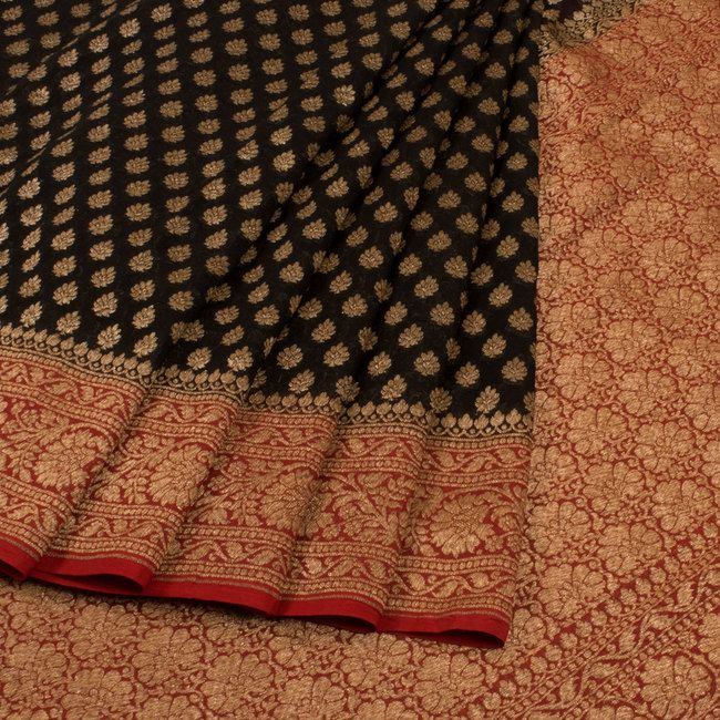 Buy online Handwoven Black Banarasi Katrua Georgette Saree With Antique Floral Butis 10014385