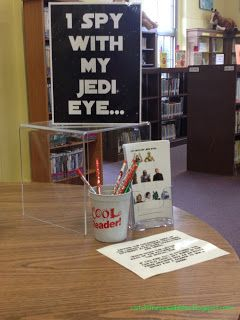 "Genius idea for star wars day scavenger hunt... hide characters with letters around the library, create worksheet with pictures of all the characters (sans letters), as kids find them, they write the corresponding letters below each character to reveal a secret message (""READ YOU SHOULD""). LOVE."