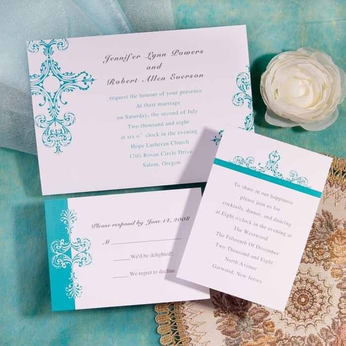 wedding card invite wordings%0A cheap simple white and tiffany blue damask brides wedding