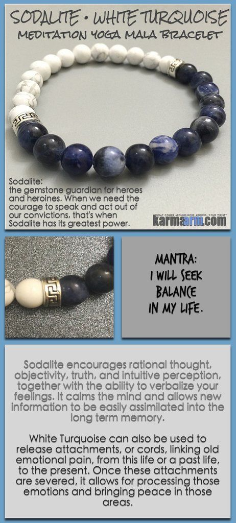 Bracelet yoga mala meditation meaning – mens womens chakra stacks. sodalite white turquoise.
