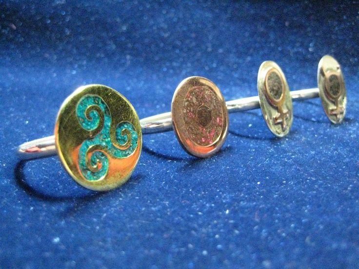 anillos de alpaca con cobre y bronce, calados y reconstituido