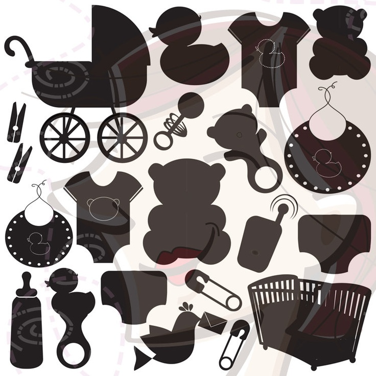 Black Silhouette Newborn Baby Girl Clip Art DIY Baby Shower Mum To Be Pram Bear Onesies Duck Rattle Small Commercial Personal Use 10175. $4.50, via Etsy.