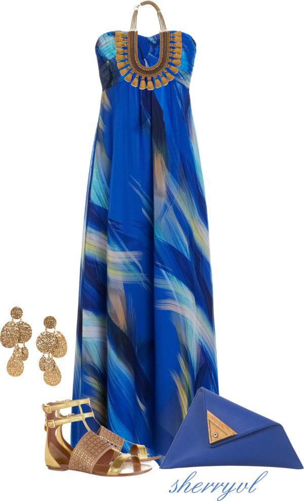 """Georgina Skalidi Bag And A Maxi Dress"" by sherryvl on Polyvore"