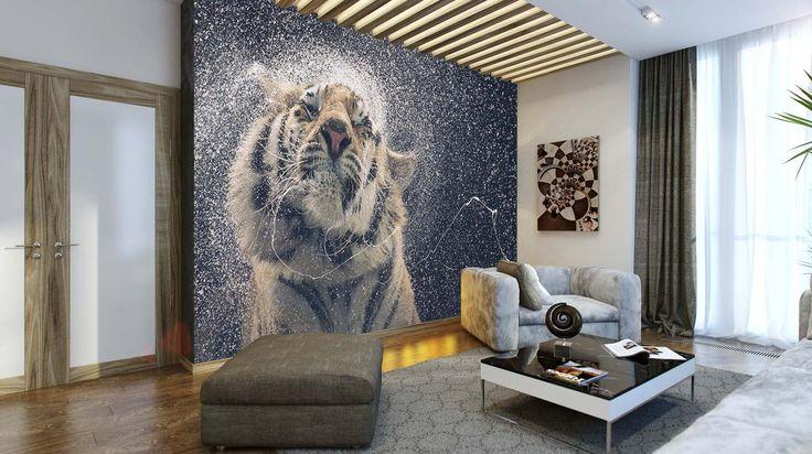 Fotomural Tigre de Bengala Salpicando, a $69.000 el metro cuadrado.