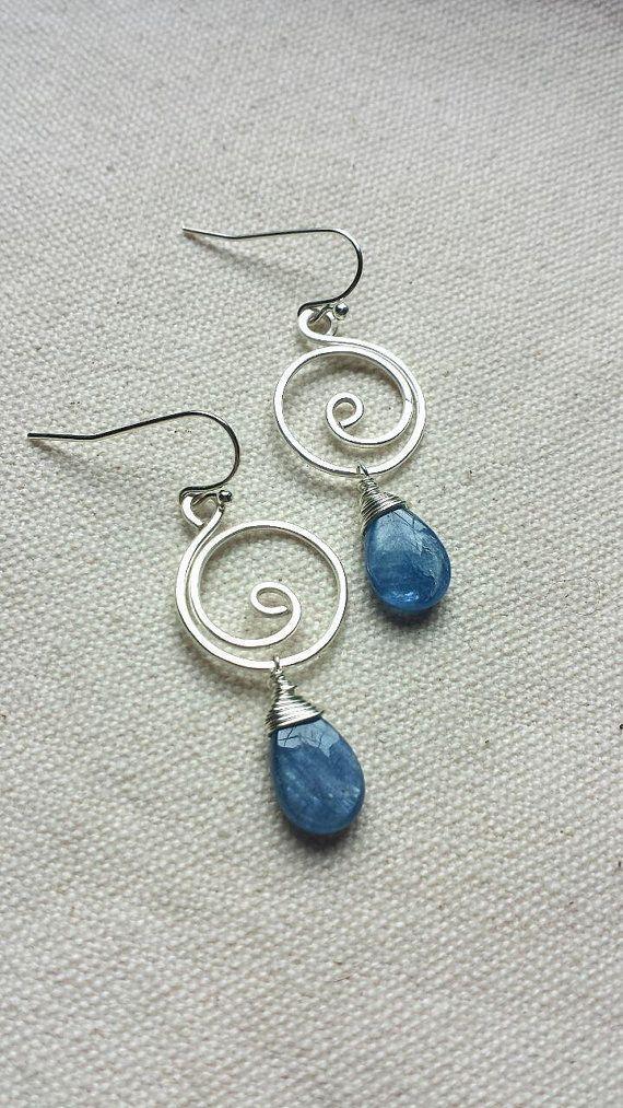 Blue Kyanite Silver Swirl Wire Wrapped Earrings by BlackwoodArts etsy jwewlry