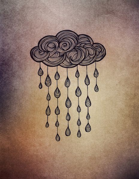 Rain cloud doodle tattoo, Rain Art Print by Nataryclyrehs | Society6 I love rain, so I like that idea!