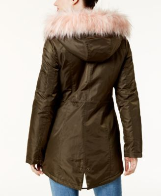 American Rag Juniors' Faux-Fur-Trim Hooded Parka, Created for Macy's - Green XXS