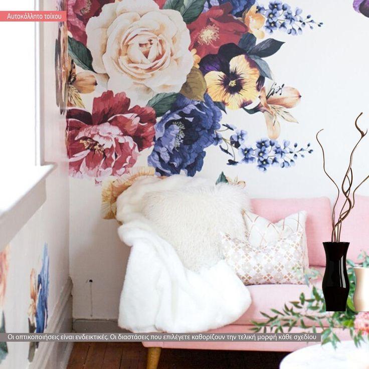 Λουλούδια,  patchwork αυτοκόλλητο τοίχου με λουλούδια,14,90 €,https://www.stickit.gr/index.php?id_product=19756&controller=product