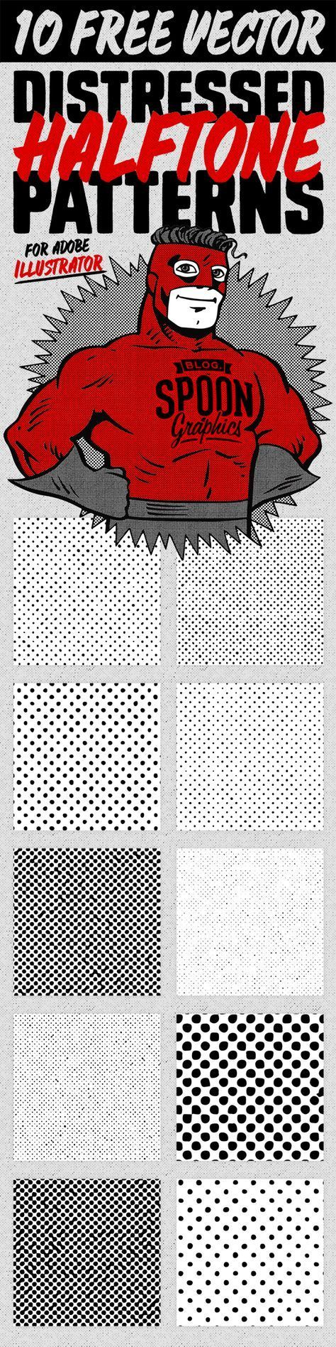 10 Distressed Vector Halftone Patterns for Illustrator (Blog.SpoonGraphics)