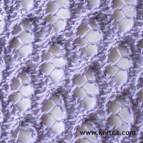 Wrong side of knitting stitch pattern – Lace 18 : www.knitca.com