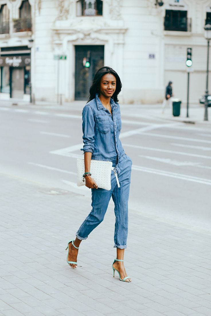 Denim Jumpsuit www.nyanewyork.com Chic mechanic jumpsuit #lookbook