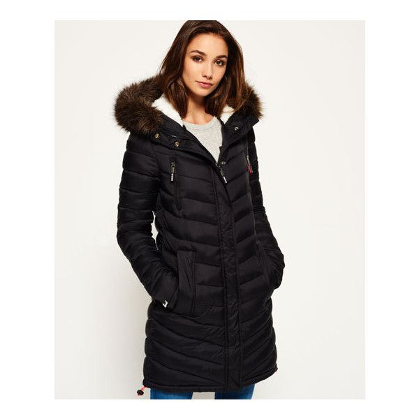 Superdry Chevron Fur Super Fuji Jacket ($120) ❤ liked on Polyvore featuring outerwear, jackets, black, quilted jackets, superdry jacket, zipper jacket, fleece lined jacket and logo jackets
