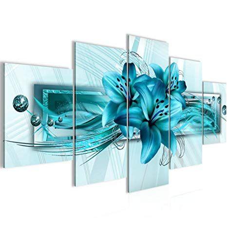 affiliate bilder blumen lilien wandbild vlies leinwand bild xxl format wandbilder wohnzimmer wohnung deko kunstdrucke turkis 5 teilig 60x30 40x30