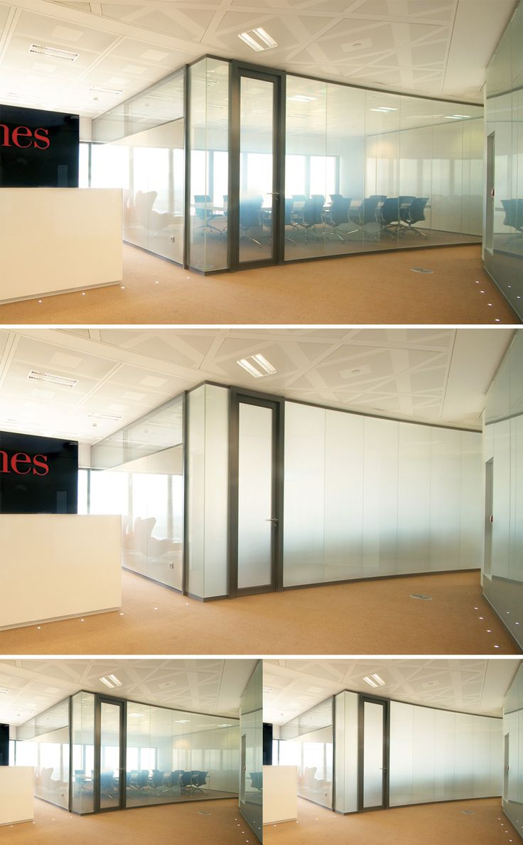Privacy Glass solution for high-tech interior partitioning screens at the Torre Espacio meeting room, Spain.