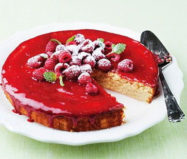 Almond Chocolate cake with raspberry glaze