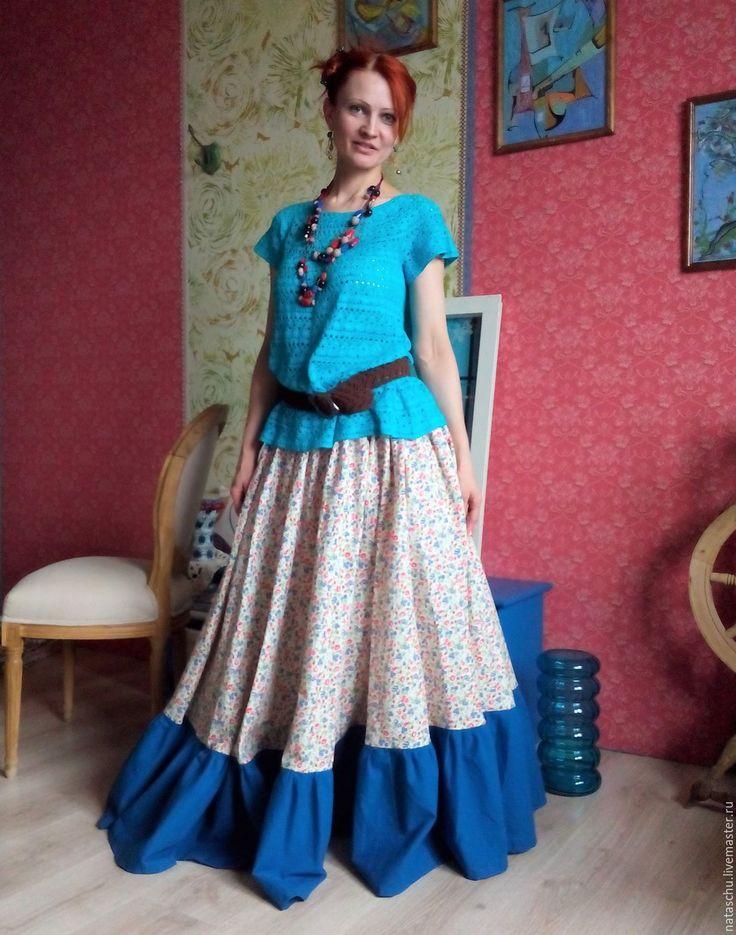Купить Юбка на лето в стиле бохо из хлопка - цветочный, юбка, юбка в пол, юбка макси