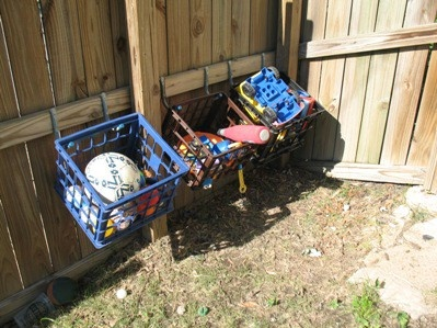 storing outdoor toys: Outdoor Storage, Ideas, Organization, Milk Crates, Dog Toys, Outdoor Play, Outdoor Toy Storage, Outdoor Toys, Kid