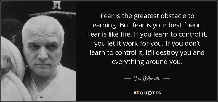 Fear is the greatest obstacle to learning. But fear is your best friend. Fear is like fire. If you learn to control it, you let it work for you. If you don't learn to control it, it'll destroy you and everything around you. - Cus D'Amato