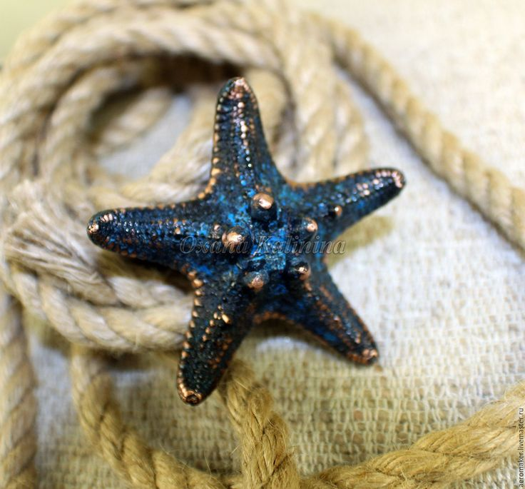 """Купить Кольцо """"Морская звезда"""" - синий, морская звезда, Морское дно, морская тема"""