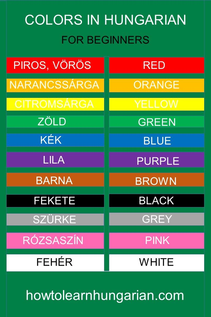 Hungarian vocabulary for beginners: the colors