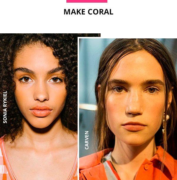 Tons terrosos e alaranjados já são a próxima febre de beleza. As cores aquecem a maquiagem e contribuem para o resultado natural e sutil na pele. Sonia Rykiel e Carven apostaram na cor nos lábios e maçãs do rosto. O resultado é monocromático.
