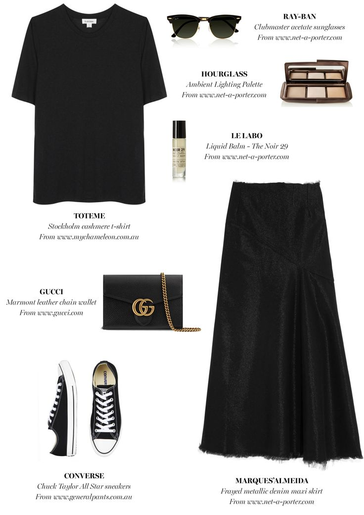 black midi skirt + black top + converse | Outfit Inspiration | Harper and Harley