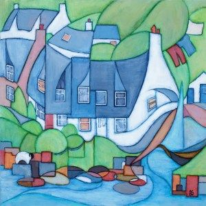 Corrie Cottages Arran.  One of my first Impressions paintings I have included all the icons of Corrie, the viking ship has now moved to Lamlash though!