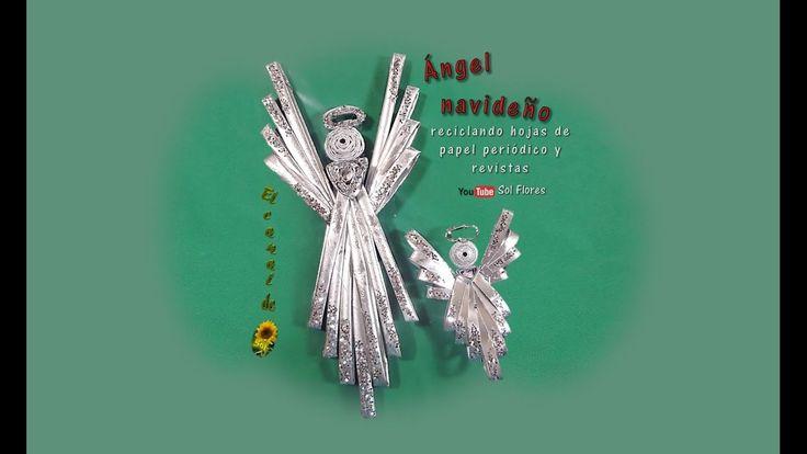 Ángel navideño reciclando hojas de papel periódico y revistas - Christma...